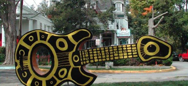 Experience Woodstock, NY: Guitar sculpture from 2002 competition and auction